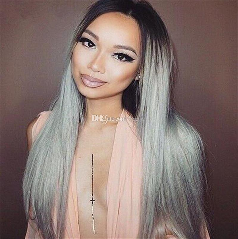 Virgin Peruvian #1B Grey Two Tone Glueless Full Lace Human Hair Wigs Ombre 1B Grey Lace Front Wigs Bleached Knots Full Density