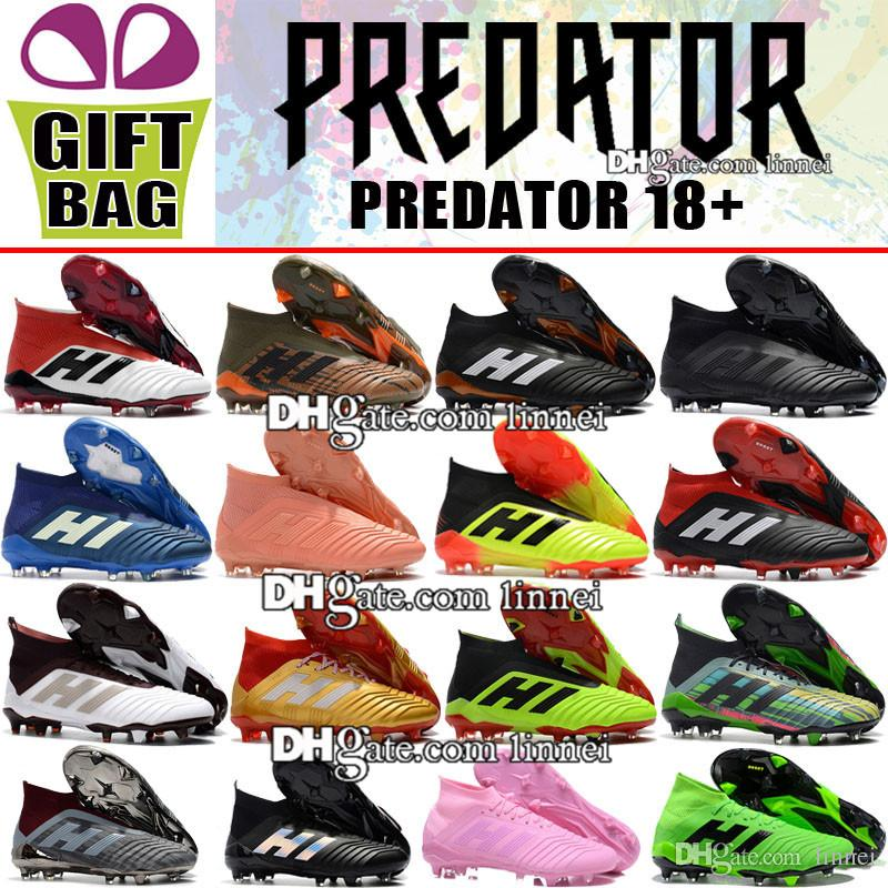 b0a5ed3f7 New 2018 Mens High Ankle Football Boots Predator 18 FG Laceless Soccer  Cleats Socks Top Outdoor Predator 18.1 Soccer Shoes Without Shoelace Ankle  Booties ...