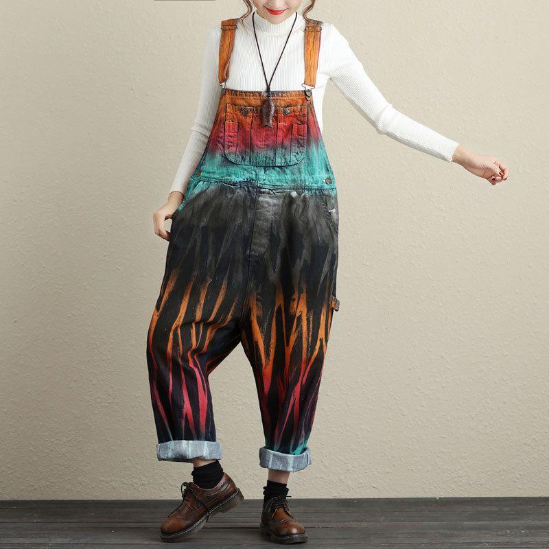 Acquista Jeans Colorati Dipinti Tute Grande Yard Hip Hop Baggy Bib Denim  Tute Low Drop Cavallo Pantaloni Larghi Le Donne G111603 A  111.82 Dal  Sincha ... bb10b1873cec