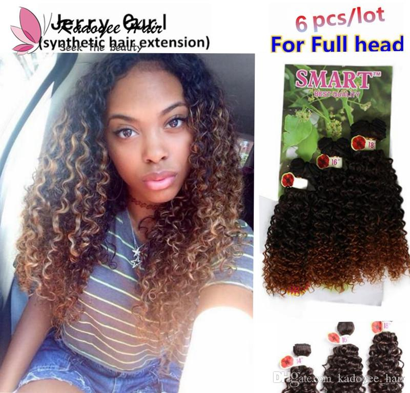 14 18inch For Full Head Jerry Curly Wavy Hair Bundles Sew In