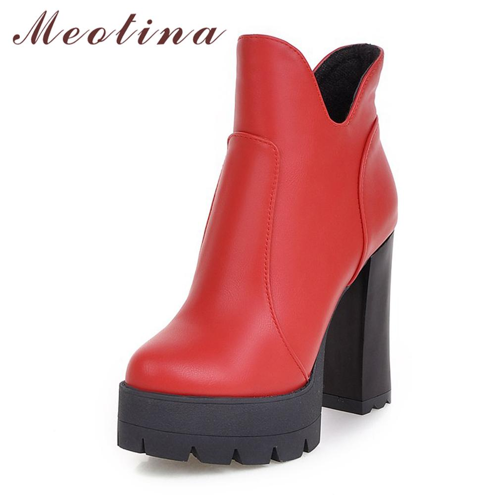 7f6992b9 Compre Meotina Extreme Botas De Tacón Alto Botines Mujeres Invierno  Plataforma De Cremallera Zapatos De Tacón Alto Negro Rojo Amarillo Tamaño  34 43 A $41.59 ...