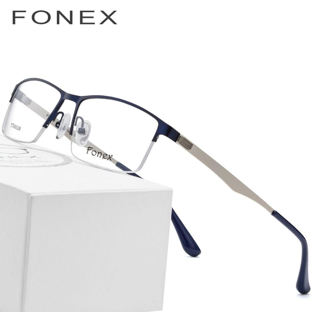 c4768a4225 2019 Titanium Alloy Eye Glasses Frames For Men Square Prescription  Eyeglasses 2018 Half Myopia Optical Frame Korean Screwless Eyewear From  Grandliu