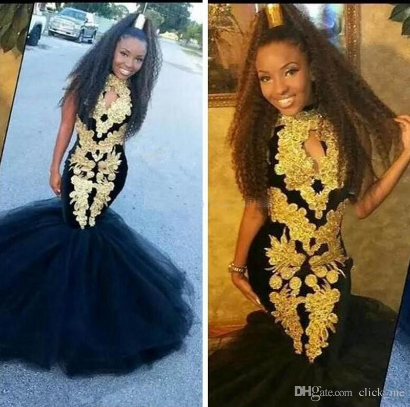 be2064ada44 African Mermaid Prom Dresses With Gold Appliques Black Girls Formal Dresses  Evening Wear Tulle Floor Length Girls Pageant Gowns For Teens Short Red Prom  ...