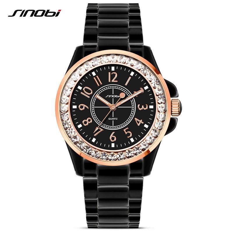 d52b0b1d457 Compre Sinobi Moda Feminina Diamantes Relógios De Pulso Imitação De  Cerâmica Pulseira Top Marca De Luxo Vestido Senhoras De Genebra Relógio De  Quartzo ...