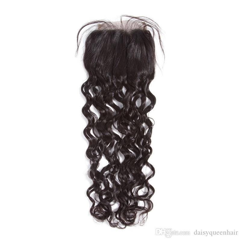 Indian Water Wave Hair 3 Bundles With Lace Closure Raw Indian Natural Wave Hair With Closure Indian Wet Wavy Human Hair Extensions