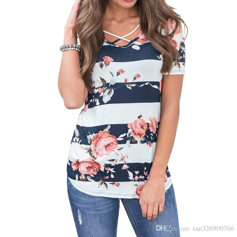 377d865cea Women's Bohemian Explosion V-neck Shirt Cross-Print T-shirt Women's ...