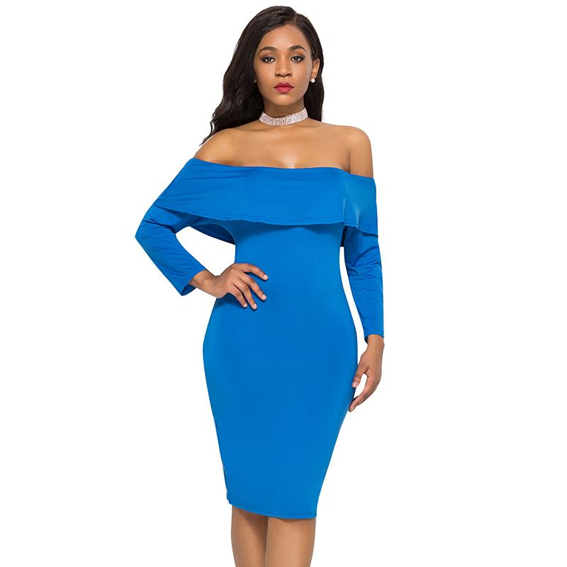 62b67ec0d30f Sexy Women Solid Dress Off The Shoulder Ruffle Long Sleeve 3XL Plus Size  Pencil Dress Nightclub Party Slim Bodycon Dress Blue White Dress Cocktail  Party ...