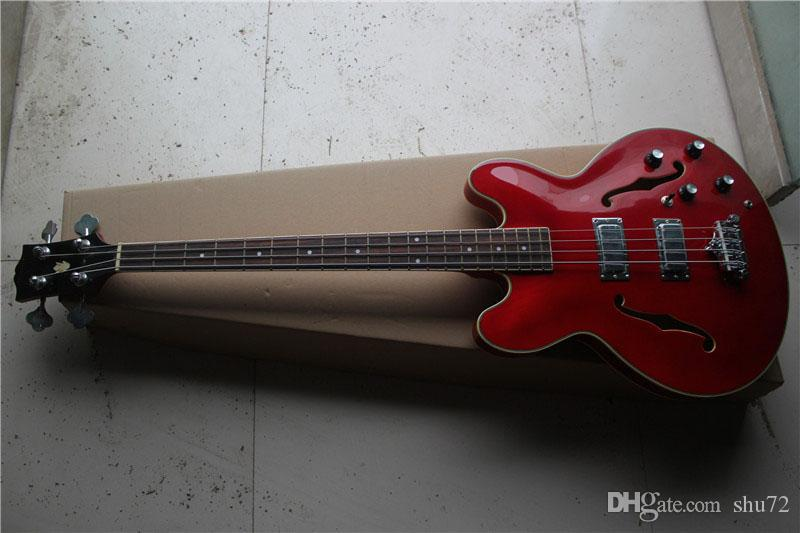 New Top Quality jazz 335 red 4 strings electric bass guitar 1 2