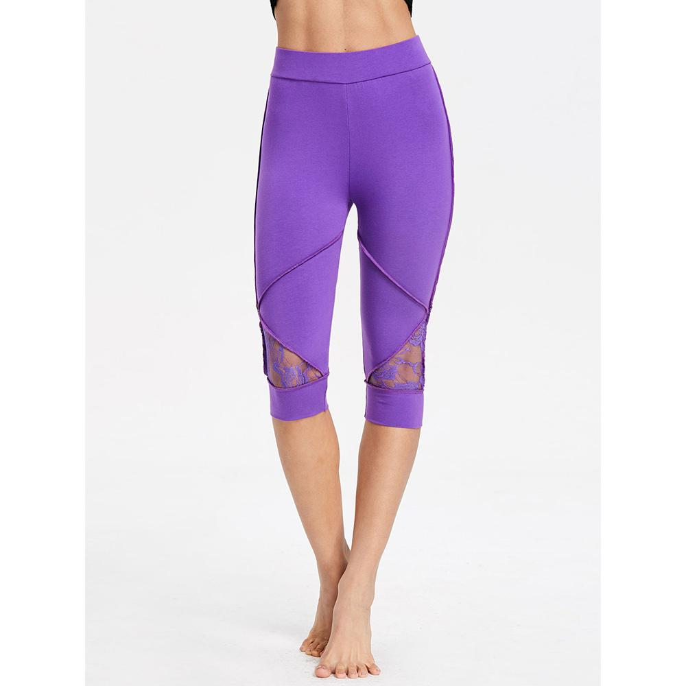 672c40071e02 2019 Lace Insert Capris Yoga Leggings 2018 Women High Waisted Sport Pants  Gym Running Tights Quick Dry Fitness Workout Leggings From Pekoe, $37.57 |  DHgate.