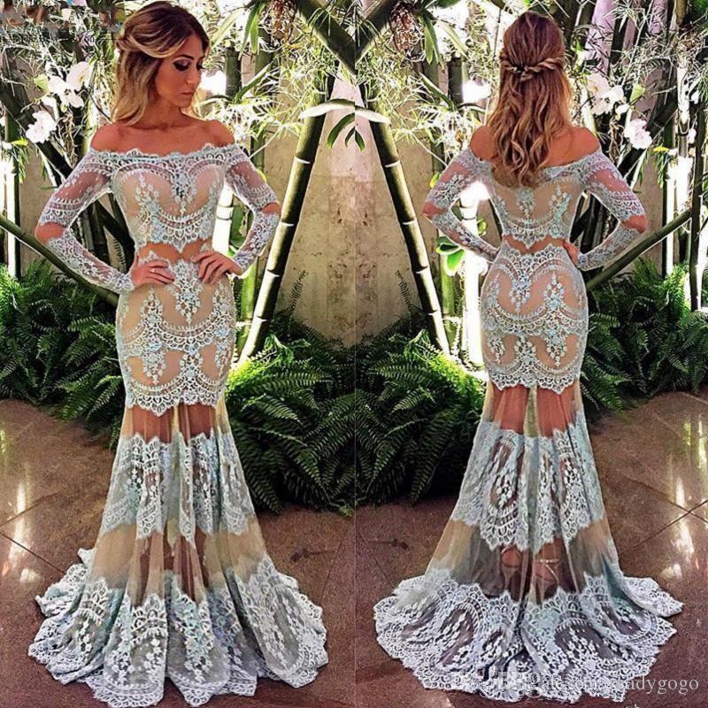 두 조각 레이스 인 어 공주 댄스 파티 드레스 2018 아랍어 오프 어깨 아름다움 퀸 이브닝 드레스 사용자 지정 만든 된 파티 드레스 긴 소매
