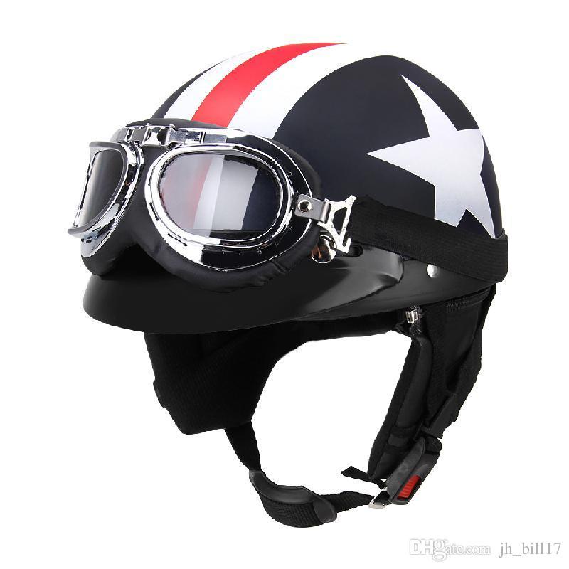 Vintage Unisex Motorcycle Helmets with Cycling Goggles Half Open Face Strip Stars Helmet Retro 54-60cm Universal Cool Men Women Helmet
