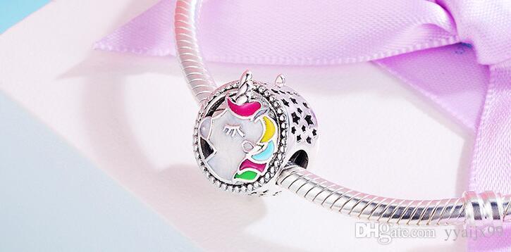 Yeni Sıcak! Unicorn charms S925 pandora stil bilezik diy için gümüş takılar diy Charms ücretsiz kargo