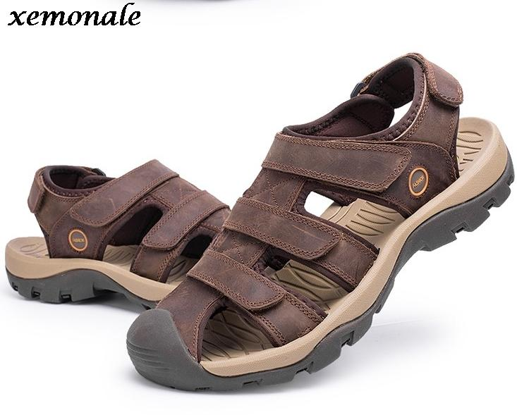 5ed208711bcc 38 46 Summer Men Sandals Plus Size Genuine Leather Sandals Men Large Size  Brown Khaki Green Flat Sandals Strappy Sandals From Aiyin