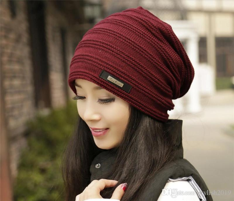 Double-Layer Acrylic Beanie Hat Winter Warm Male Knitted Caps ... 40c4cab91329