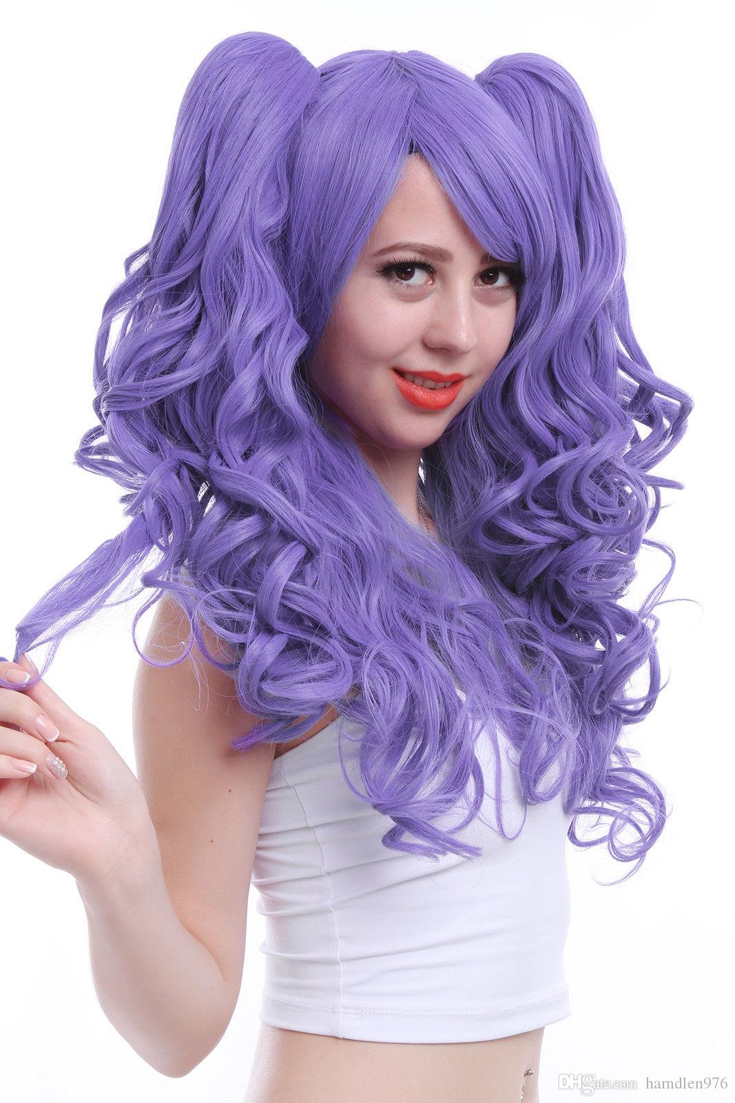 ≫≫≫Womens Lolita Long Curly Wavy Ponytails Purple Cosplay Wig Heat  Resistant Wigs Lace Front Wig Caps For Wig Making Lace Cap For Wig Making  From ... 7ebed470d