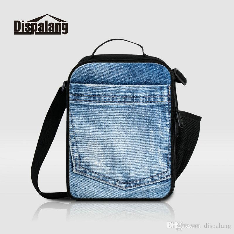 Cool Denim Pattern Canvas Lunch Bags For Teenage Boys Outdoor Travel ... 37678e4e360dc
