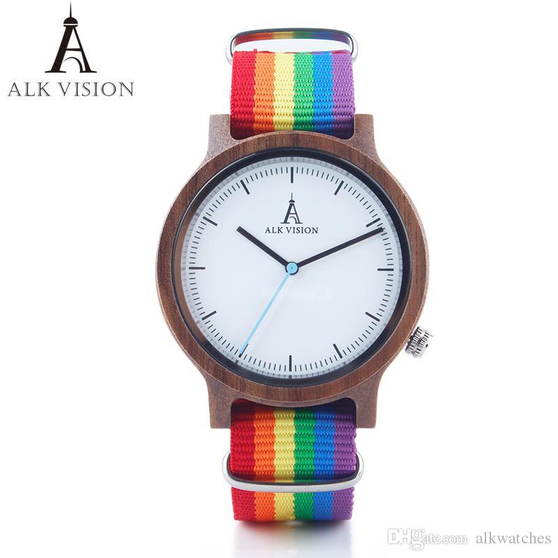 Compre ALK Vision Top Relojes De Madera Orgullo Rainbow Luxury Brand Mujeres  Reloj De Madera Para Hombres Con Lona LGBT Correa De Moda Casual Reloj De  ... a168d396f503