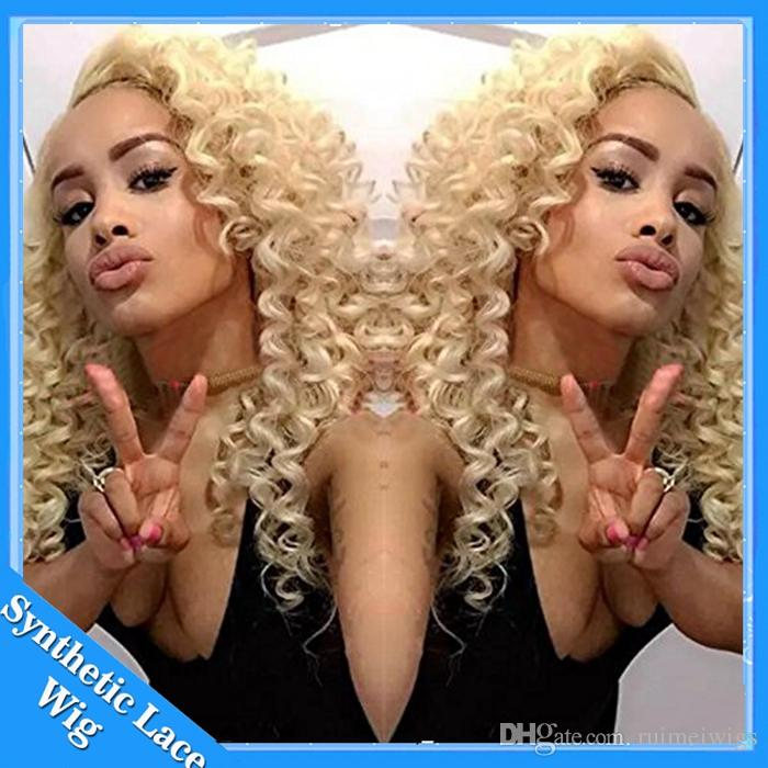 Cosplay Wig Afro Kinky Curly Natural Looking Blonde #Synthetic Lace Wig Heat Resistant Lace Front Curly Synthetic Wigs