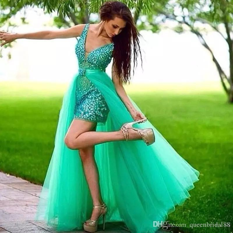 Custom Made Sparking Rhinestone Short Mini Prom Dresses with Detachable Tulle Overskirt Cocktail Party Celebrity Gowns