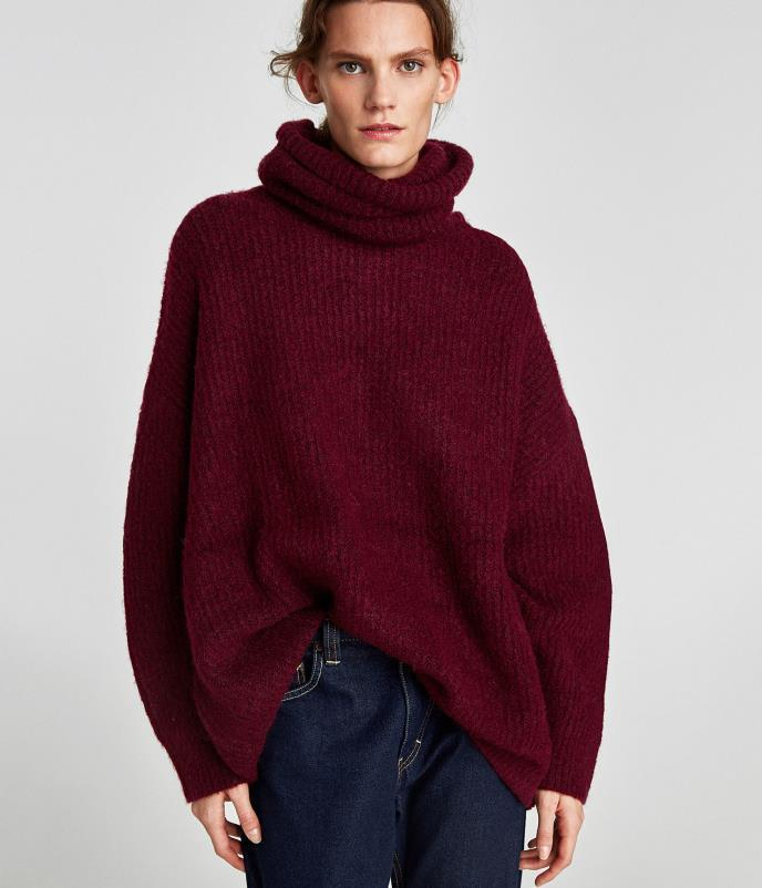 1f04d3788f 2018 2018 Large Size Loose Knit Sweater.Sleeve Jumper Winter Knitting  Sweater Women Turtleneck Patchwork Sweaters And Pullovers Pull Femme From  Zhangwenrui