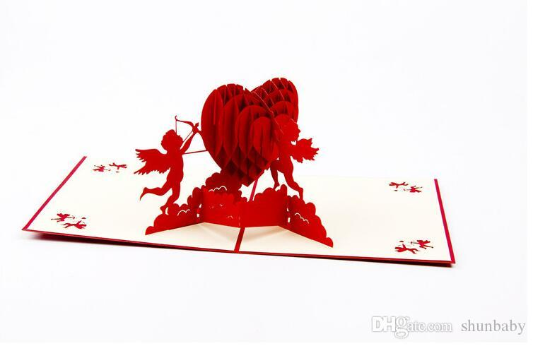 3D Lover Greeting Cards Heart Shape Paper Cut Valentines Mother's Day Christmas Gift Card Thank You Card