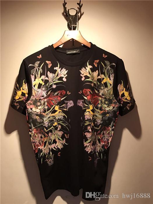 2018 Verão Nova Marca de Moda Mens T Shirt antes do crime borboleta flor impressão T Camisa Dos Homens de Manga Curta Casuais Mens Top Tee