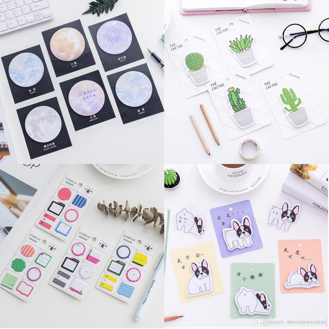 cute self-adhesive memo pads cactus sticky notes post sticker labels bookmark escolar papelaria school office supply korean stationery