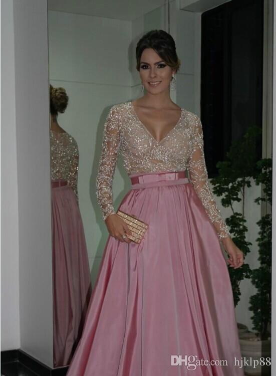 V neck Illusion Long Sleeves Beaded rihanna fenty New Evening party gowns Floor Length coat marsala pink Prom Dresses 2018