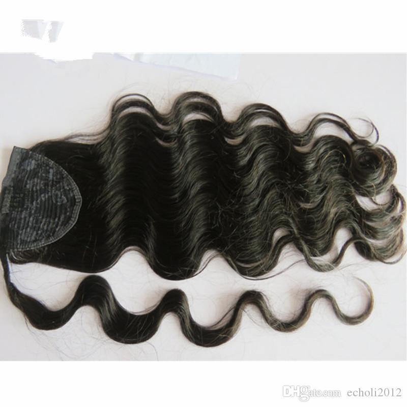 120g natural body wavy hair puff remy Human Hair Ponytail Extensions Brazilian Virgin Hair Ponytail Extension with black drawstring clips