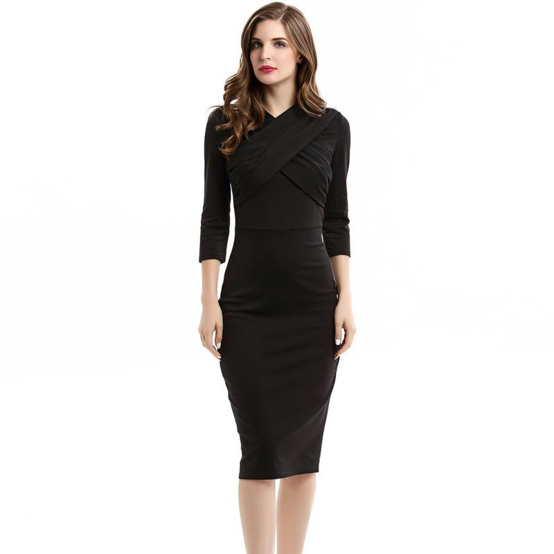 fbcd890db20 2019 Lady Career Office Dress Pure Tight Work Dress New Design V Neck Slim  Black Pencil Dress From Sinofashion