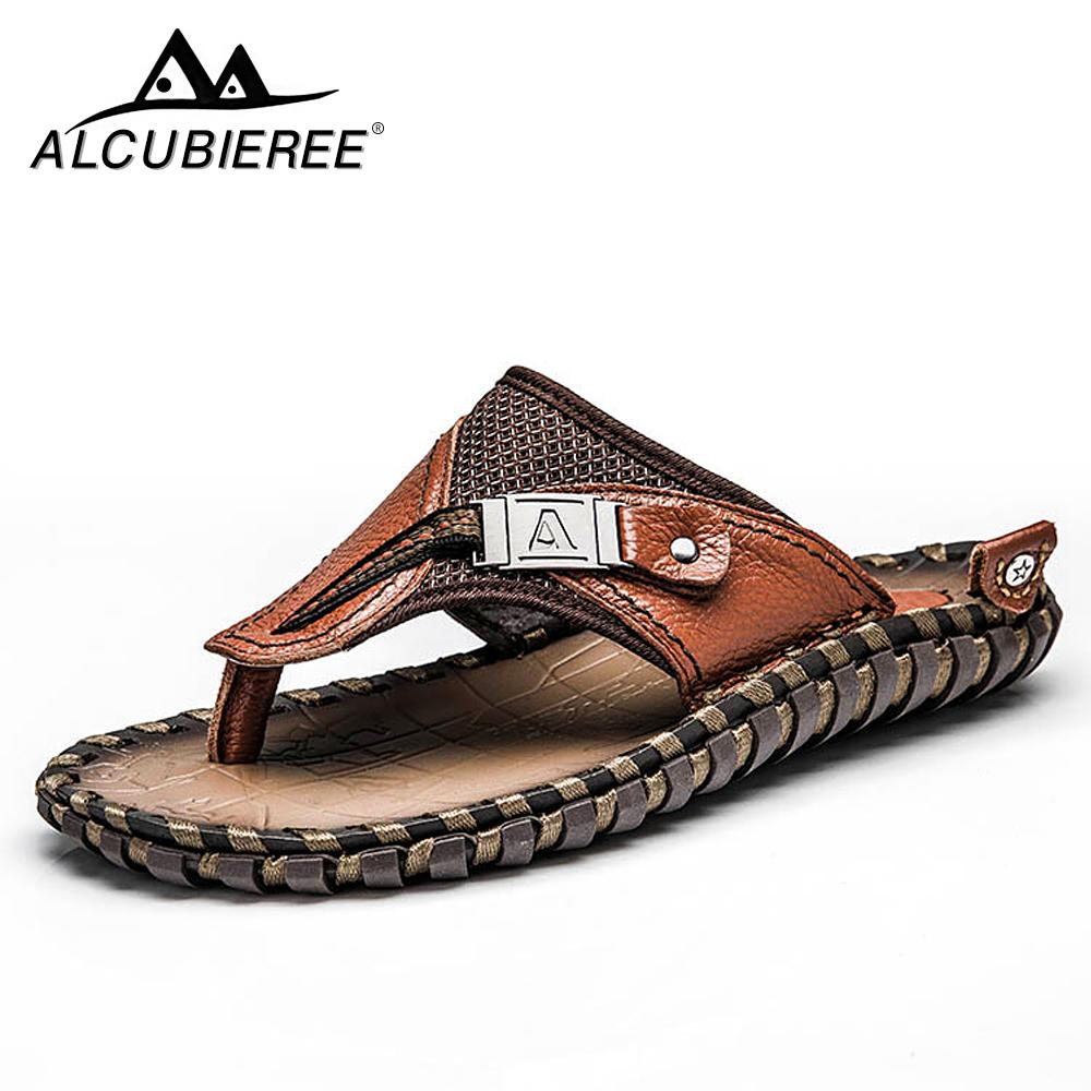 d25ab30ab0451 Brand Men S Flip Flops Genuine Leather Luxury Slippers Beach Casual Sandals  Summer For Men Fashion Shoes New 2018 Big Size 48 Pink Shoes High Heel Boots  ...