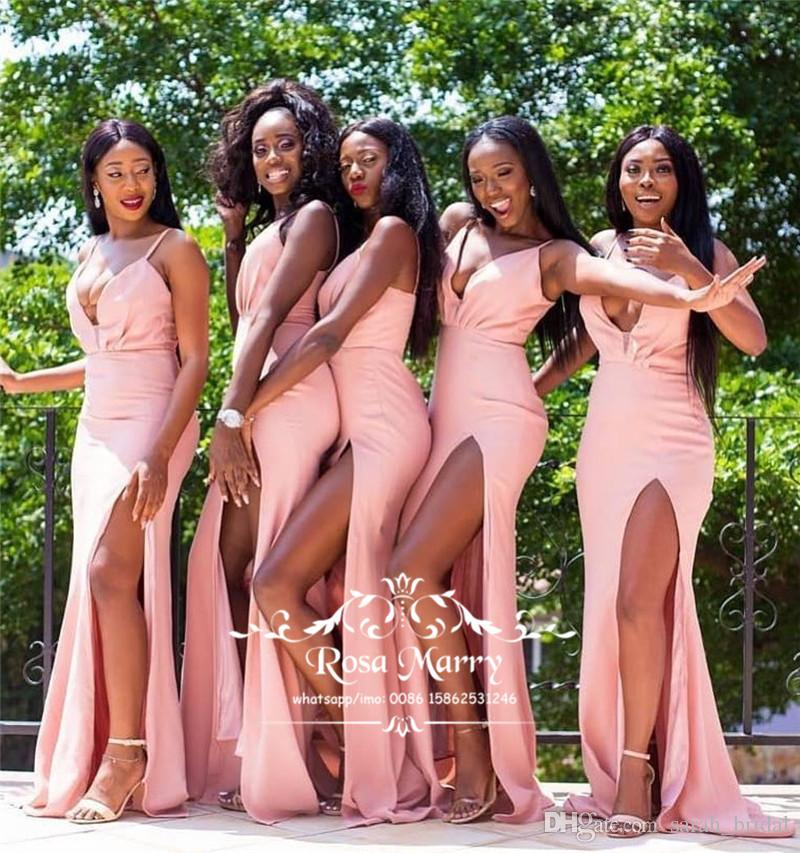 c10caf4ca0b29 Sexy Pink Mermaid African Bridesmaids Dresses 2019 Plus Size High Split Long  Satin Country Beach Maid Of Honors Formal Wedding Guest Gowns Bridesmaid ...