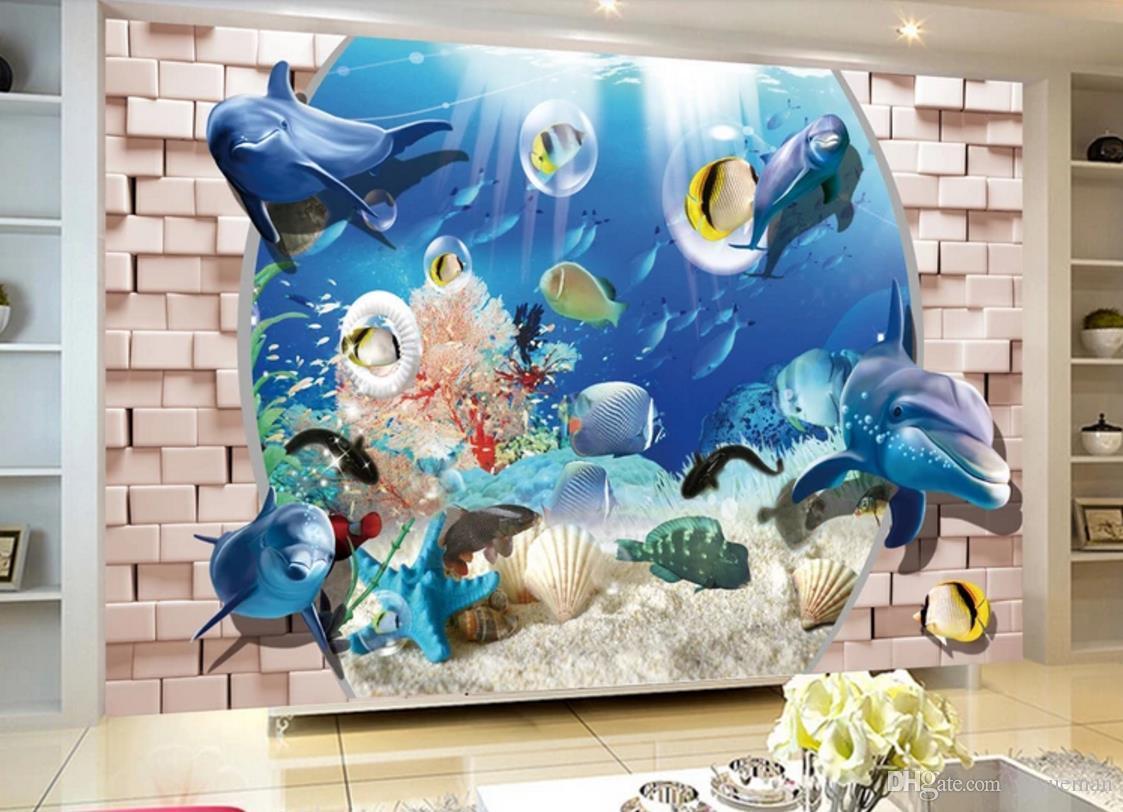 Tapety 3d moderne photo papier peint Haute qualité 3D stéréoscopique Balcon vue sur la mer 3d papier peint salon papiers peints décor