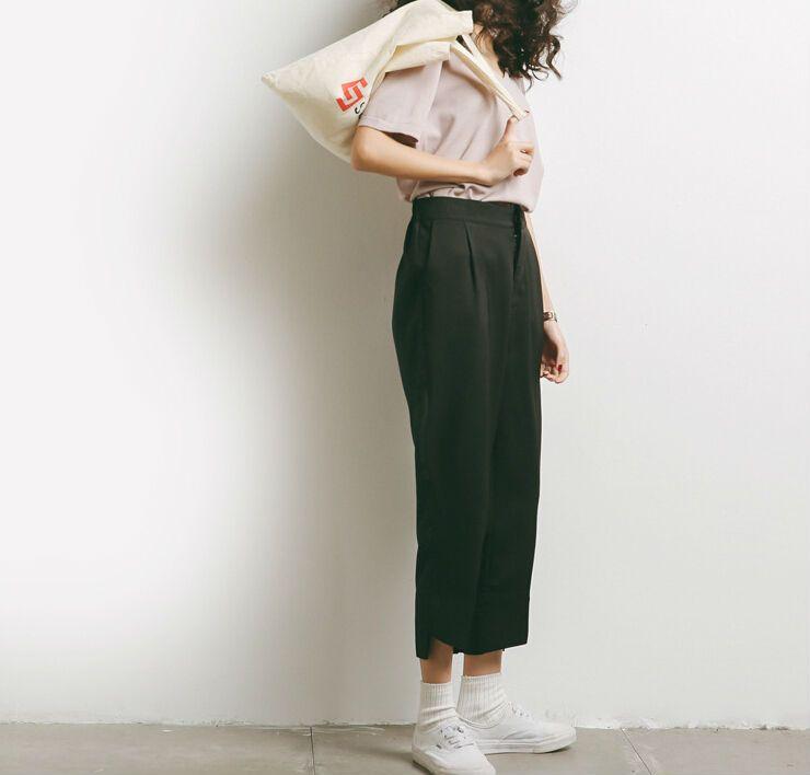 Spring Summer Elegant Loose Women Pants Elastic Waist Casual Ankle Length Pants Irregular Leg Opening Design Black Harem Pants