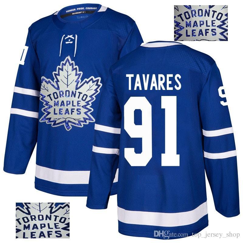 best website cd5f1 d758d 2018 Maple Leafs Jerseys Sequins embroidery Custom made 16 Mitchell Marner  34 Auston Matthews 91 J.Tavares Toronto Hockey Jerseys