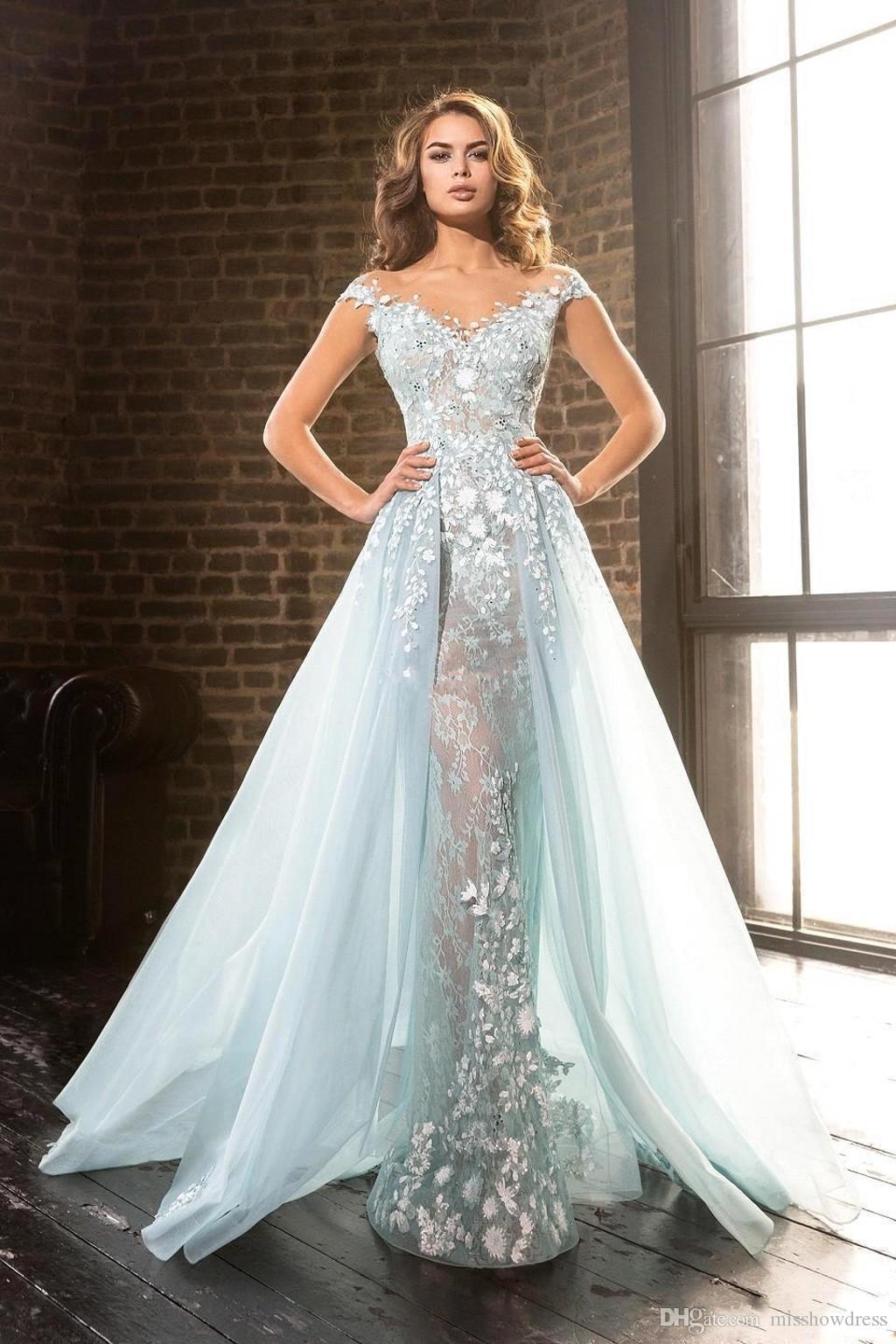 Luxo Luz Azul Sheer Jewel Neck Vestidos de Noite A-Line Lace Apliques Beads Em Frente Pageant Vestidos de Noite Vestidos De Festa
