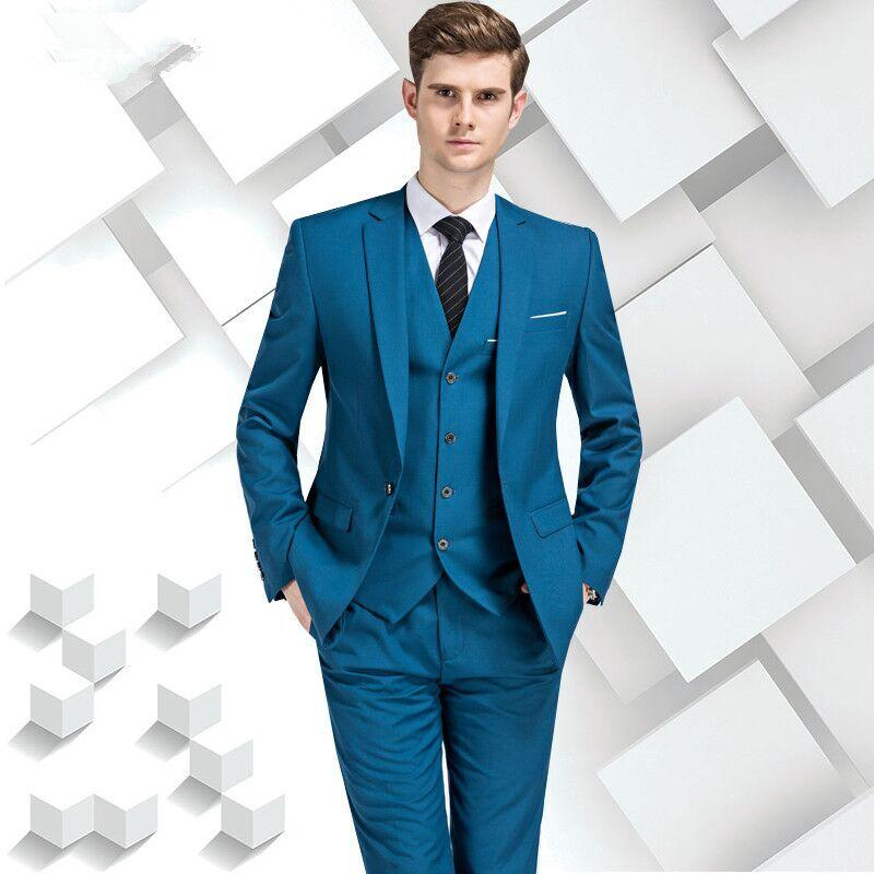 Tailor Made Lake Blue Men Suits Slim Fit Groom Prom Blazer Tuxedo ...