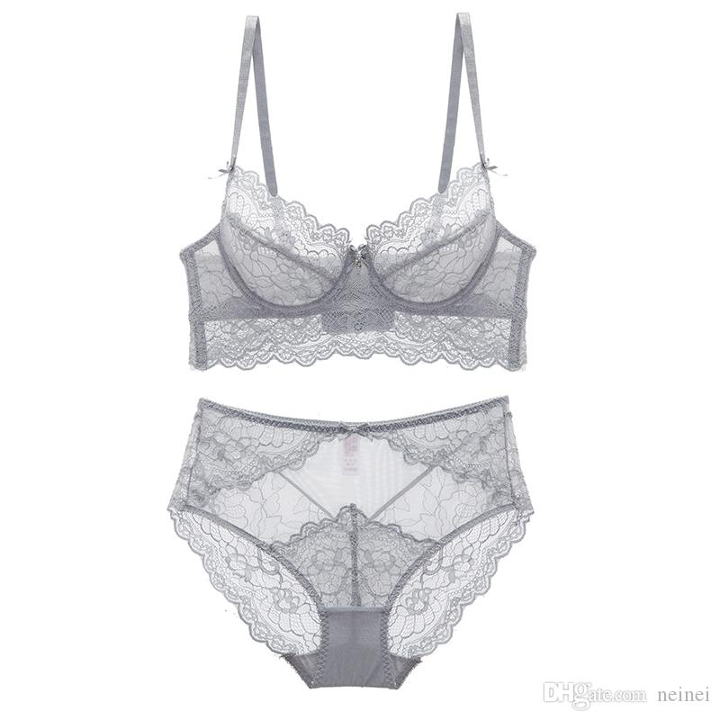 7d134ceaac 2019 2018 New Summer Style Full Lace Floral Ultrathin Women Sexy Lingerie  Transparent Push Up Underwear Panties 4 Breasted Bra Sets From Neinei