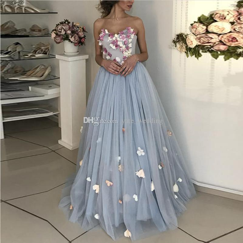 fbab9caa59a Blue Floral Tulle Evening Dresses Sweetheart Attachable Straps Floor Length  Ball Gown Prom Dresses Elegant Evening Gowns Bandage Lace Up Long Black  Evening ...