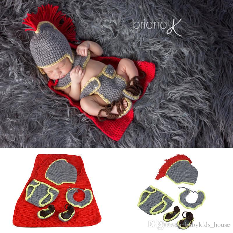 Crochet Baby Boys Knight Photography Props Knitted Newborn Photo  Accessories Crochet Baby Boys Hats Outfits