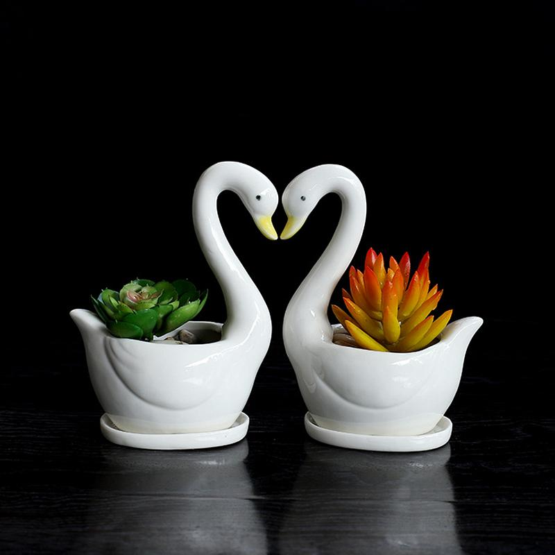 2019 Set Swan White Ceramic Planter For Succulents Decorative