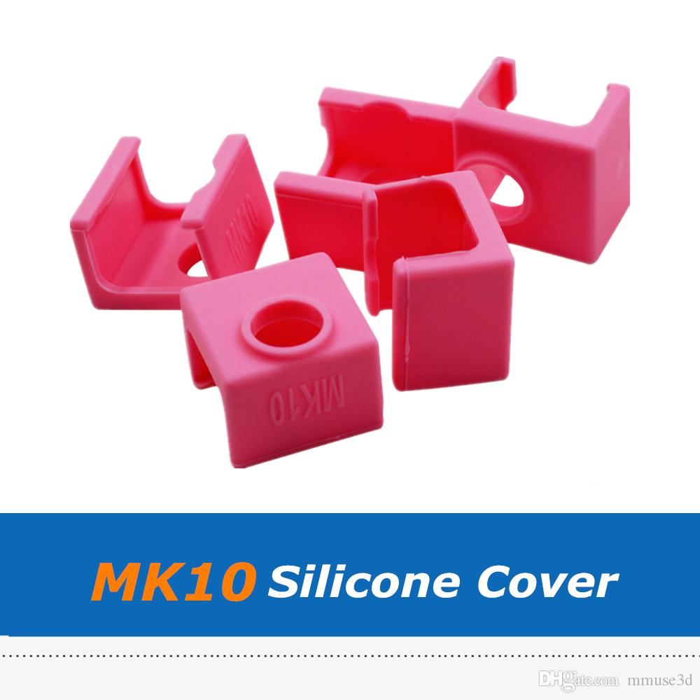 5pcs Pink Color 3D Printer Parts 19*19*13mm MK10 Heater Block Silicone Sock Cover For Reprap MK10 Heating Block