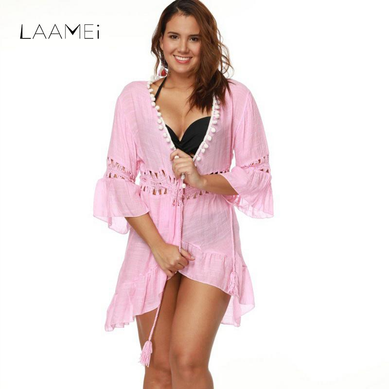 Compre Laamei Pink Sexy Women Beach Dress Patchwork Mujer Ahueca ...