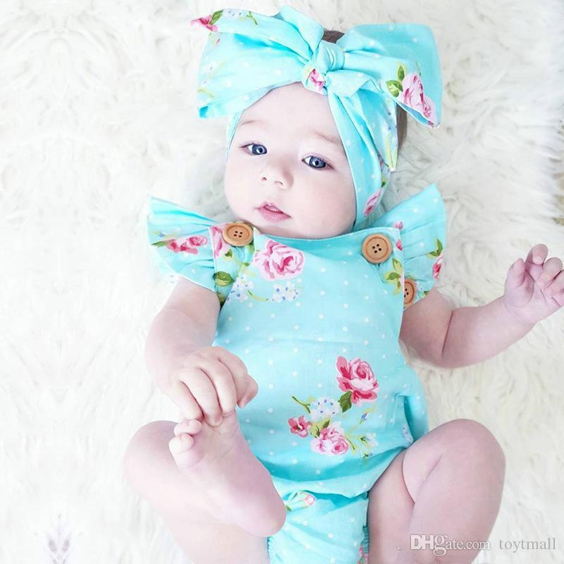55a3b9c83 2019 2018 Newborn Baby Girls Summer Floral Rompers +Headhand Set Baby Girls  Infants Flower Jumpsuit Clothes Outfits 0 24M From Toytmall, $4.98 |  DHgate.Com