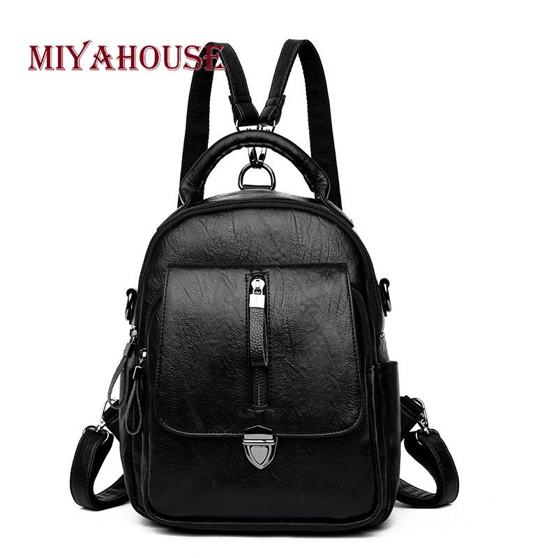 Miyahouse Large Capacity Vintage Backpack For Women Pu Leather Korean Style  Rucksack For Female Solid Color Backpac Women Cheap Backpacks Rolling  Backpack ... 31c359038e