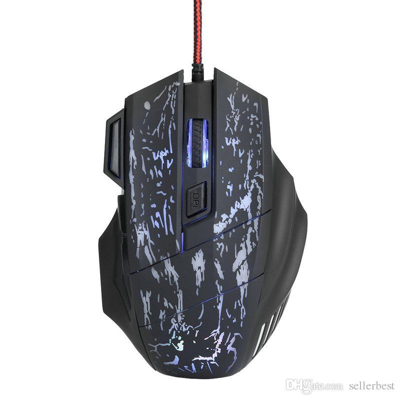 Nuevo juego óptico con cable USB A874 Gaming Mouse Light Computer Mouses 5500DPI Ajustable 7 botones para computadora Juegos para PC portátil