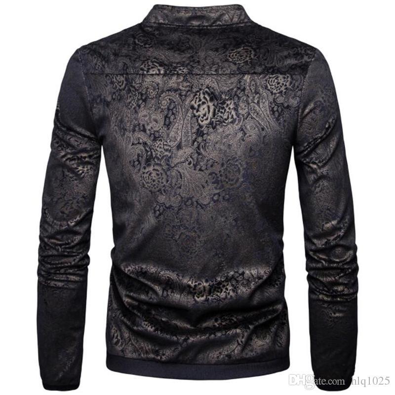 New Design Gold Velvet Embossed Jackets Men Brand Casual Sweater Cardigan Coat Stand Collar Zipper Men's Jacket Winter Outwear