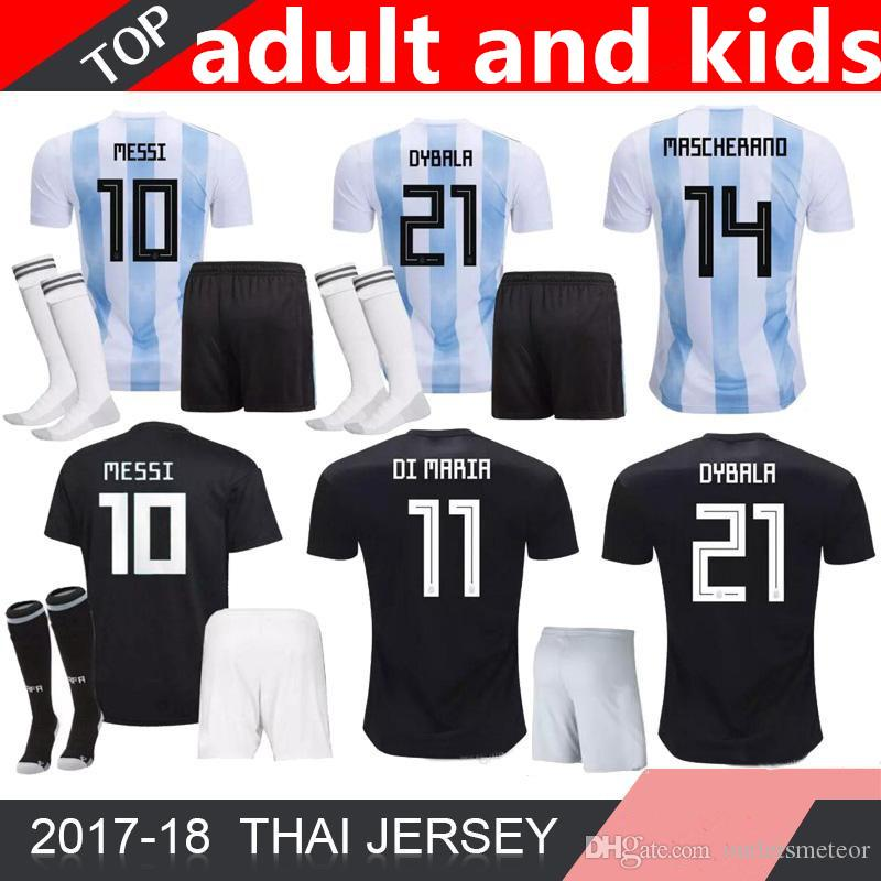finest selection a5f13 ca12f 2018 Argentina World Cup MESSI DYBALA jerseys Argentina kids and adult kit  soccer jersey AGUERO DI MARIA HIGUAIN 18 19 home football shirts