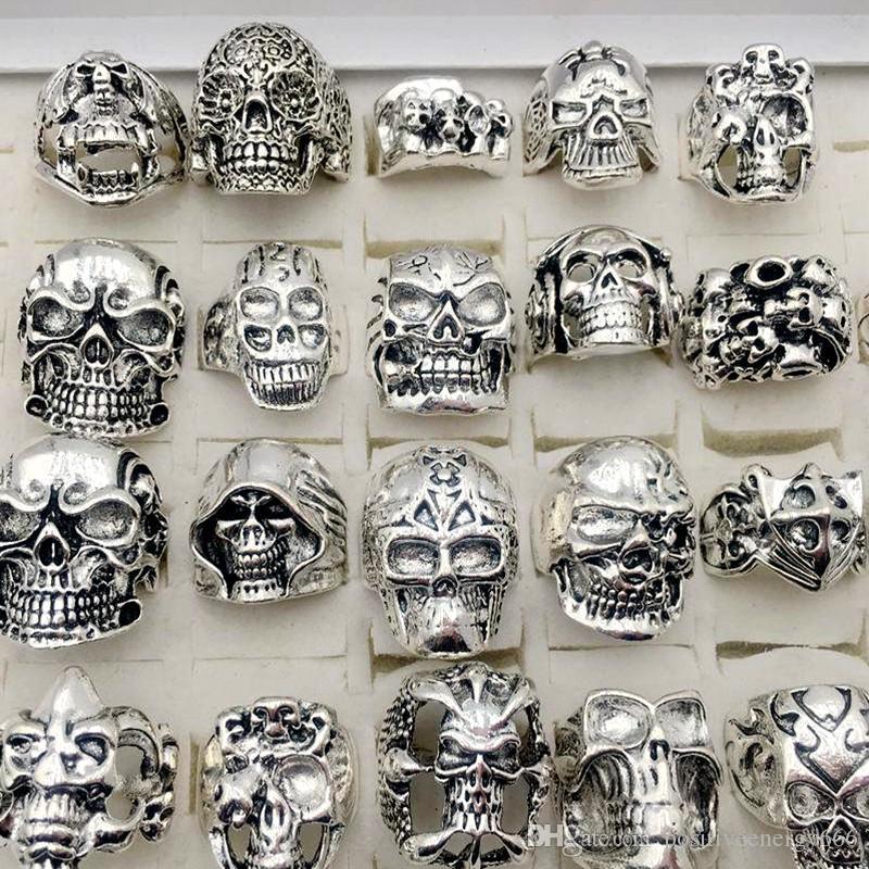 Новый череп кольца 30 шт. / лот готический стимпанк стиль посеребренные хип-хоп ювелирные изделия для мужчин размер 17 см до 22 см человек мода подарки