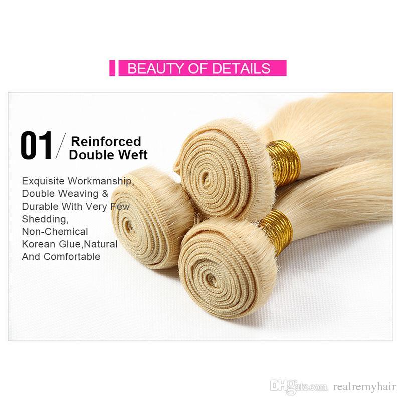 Colored Brazilian 613# Honey Blonde Human Hair 4 Bundles Deals Unprocessed Brazilian Straight Blonde Virgin Hair Weave Extensions